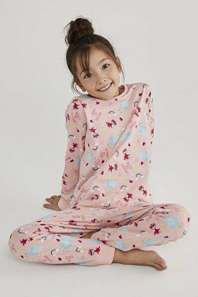 Çok Renkli Kız Çocuk Trolls Rainbow 2li Pijama Takımı