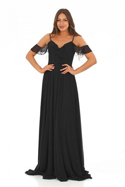 Siyah Şifon Göğsü Volanlı Uzun Abiye Elbise