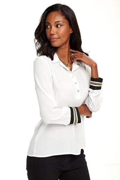 Kadın Beyaz Yakası Patlı Düğmeli Kolları Simli Bantlı Bluz 020-3000
