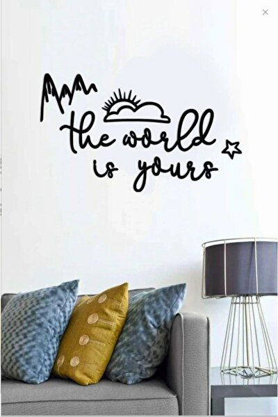 The World Is Yours Ahşap Duvar Yazısı
