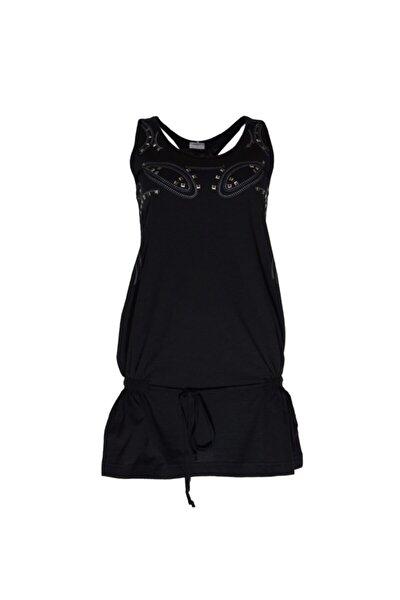 Kadın Siyah Uzun Tişört - Bga034919