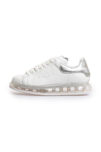 Beyaz Gümüş Deri Şeffaf Taban Kadın Sneakers