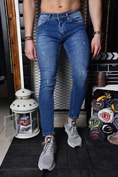 Erkek Canlı Mavi Skinny Fit Likralı Bilek Boy Pantolon