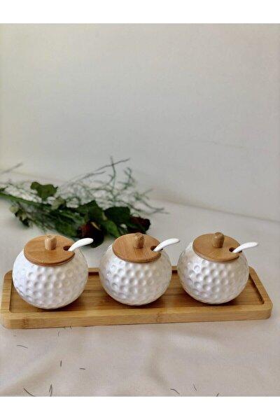 Bambu Kapaklı Kaşıklı Porselen Baharatlık Seti Bambu Altlık 4'lü Set