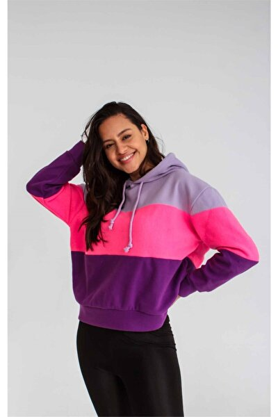 Kadın Mor Polar Kapüşonlu Sweatshirt Ucb150611a25