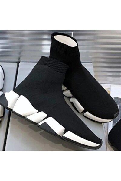 Kadın Siyah Boğazlı Triko Çorap Sneaker Spor Ayakkabı