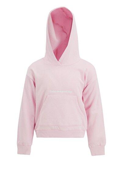 Kız Çocuk Pembe Yazı Baskılı Sweatshirt