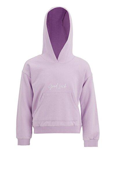 Kız Çocuk Mor Yazı Baskılı Sweatshirt
