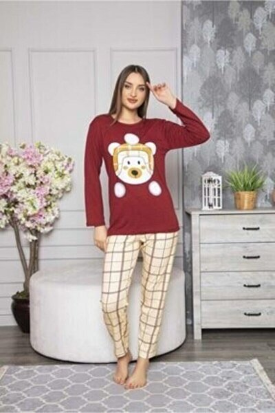 Wom Prive Bereli Ayıcık Baskılı Bordo Bayan Pijama Takımı