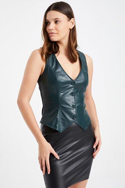 Kadın Yeşil Astarlı Klasik Deri Detaylı Yelek 15l4226