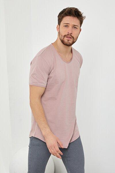 Erkek Koyu Pudra Pis Yaka Salaş T-shirt-tcps001r58s