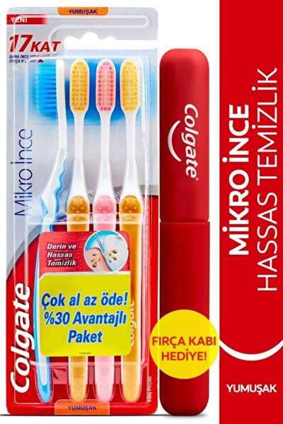 Mikro Ince Hassas Temizlik Yumuşak Diş Fırçası 4'lü + Diş Fırçası Kabı Hediye