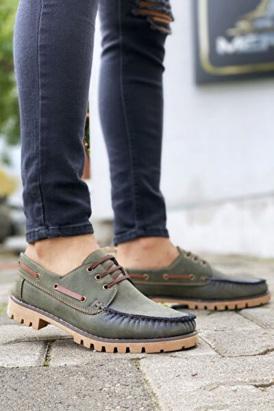 Bağcıklı Yeşil Klasik Ayakkabı