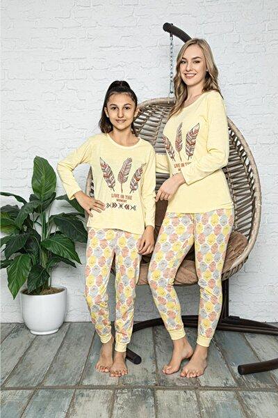 Kuş Tüyü Baskılı Sarı Anne Kız Kombin Pijama Takımı