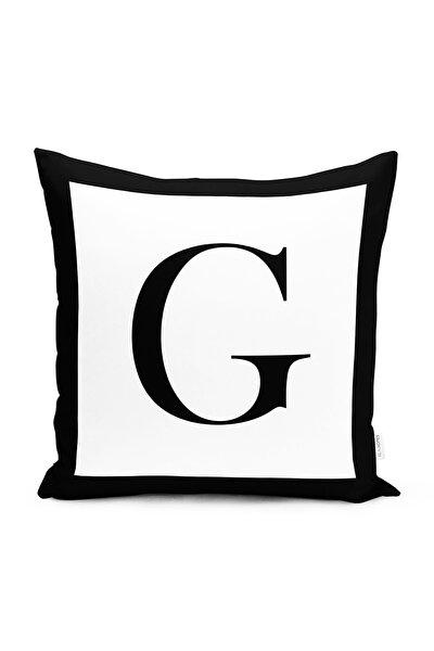 Siyah Beyaz G Harfli Özel Tasarım Dijital Baskılı Yastık Kırlent Kılıfı