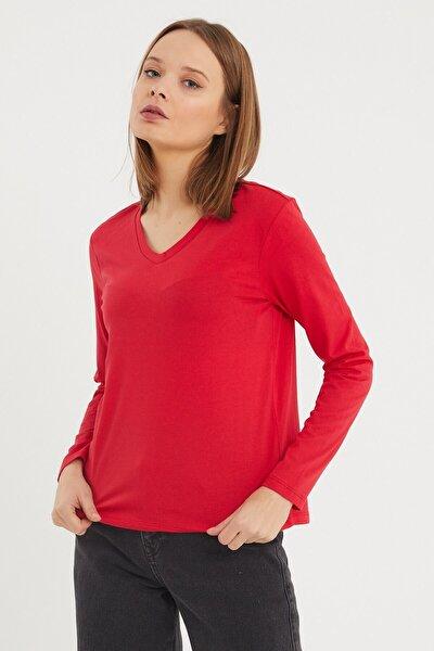Kırmızı V Yaka Kadın Uzun Kollu T-shirt
