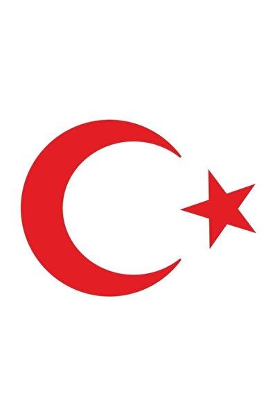 Ay Yıldız Türk Bayrağı Sticker Kırmızı Renk 20x17 Cm