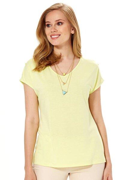 Kadın Açık Fıstık Yeşil V Yaka Omuzu Yırtmaçlı Düğmeli Bluz