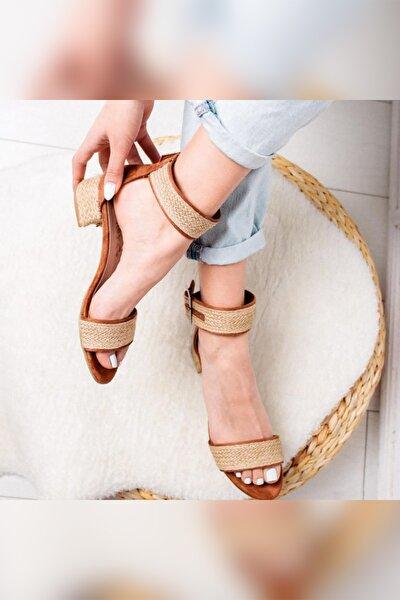 Kadın Taba Gerçek Hasır Alçak Topuklu Hasır Ökçeli Sandalet