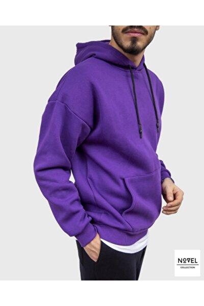 Mor Kapüşonlu Kanguru Cepli Oversize Sweatshirt