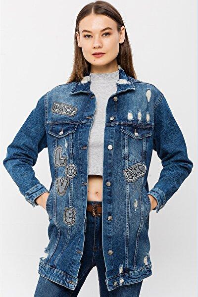 Kadın Mavi Love And Peace Uzun Jean Ceket