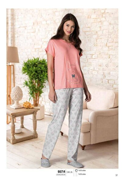 Kedili Kadın Pijama Takımı 66714