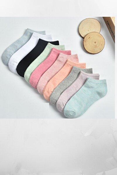 10 Çift Kadın Koton Çok Renkli Çorap
