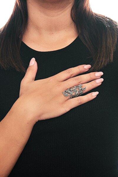 Zeydor Antik Gümüş Kaplama Tasarım Yüzük