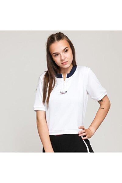 Ft8121 Cropped V Neck Kadın Beyaz Tişört