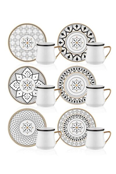 Maroc 6 Kişilik Porselen Kahve Fincan Takımı Prs0054