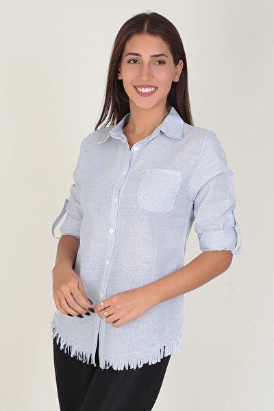 Çizgili Kumaş Etek Saçaklı Gömlek