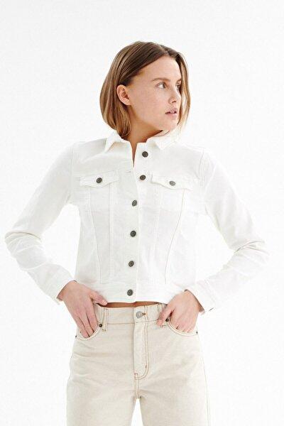 Kadın Beyaz Kot Ceket