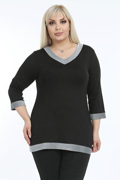 Kadın Büyük Beden Parıltılı Şerit Detaylı Bluz