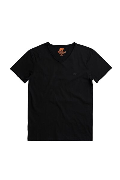 Erkek Siyah V-collar Tee Raven Tişört