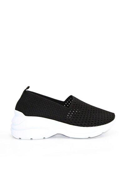 Kadın Siyah Vegan Triko Slip On Spor Ayakkabı -fmn2002 Siyah