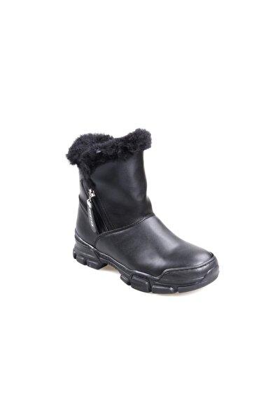 Divamod Siyah Kürklü Bayan Bot Ayakkabı