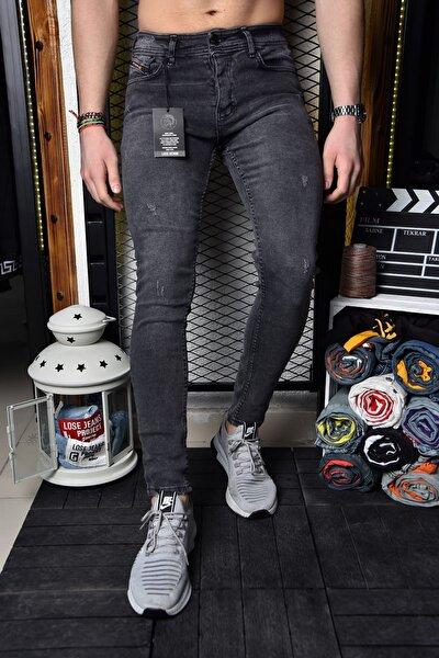 Erkek Füme Skinny Fit Tırnaklı Bilek Boy Pantolon