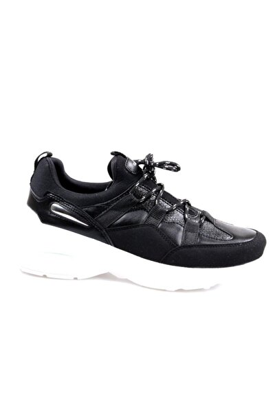 Yüksek Taban Siyah Günlük Bayan Spor Ayakkabı