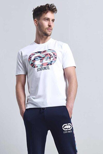 Pınk Camo Beyaz Erkek Baskılı Bisiklet Yaka T-shirt