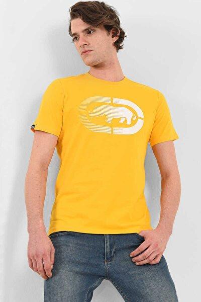 Logo Tee 2 Sarı Erkek Baskılı Bisiklet Yaka T-shirt