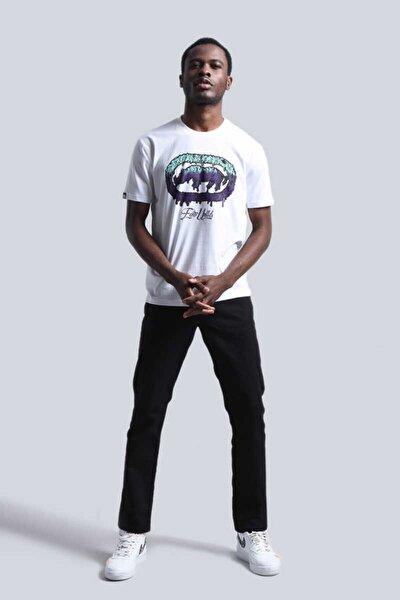 Eckots Newyork Beyaz Erkek Baskılı Bisiklet Yaka T-shirt