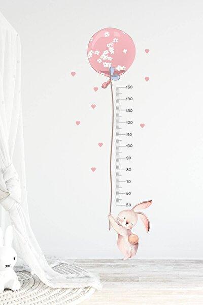 Balonlu Tavşan Boy Ölçer Duvar Sticker Seti