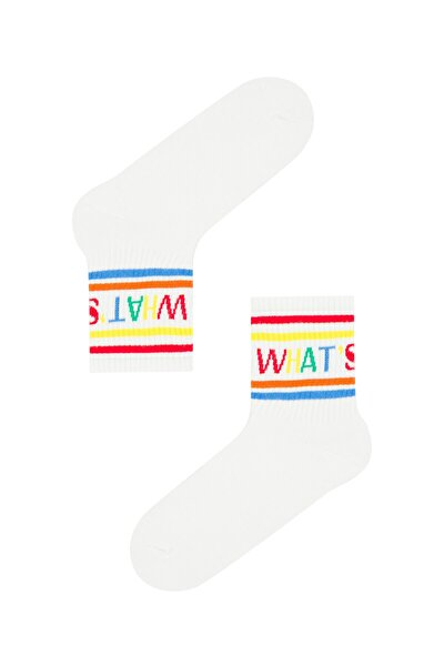 Beyaz Cool Whatsup Soket Çorap