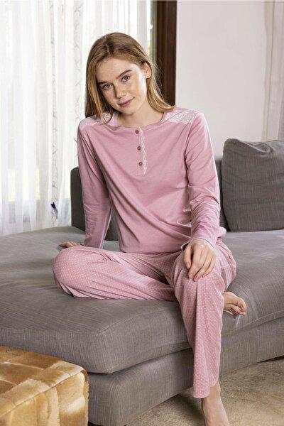 Kadın Pembe Modal Altı Desenli Üstü Düz Pijama Takımı