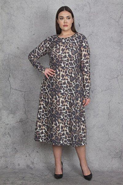 Kadın Kahve Uzun Kollu Desenli Viskon Elbise 65N22071