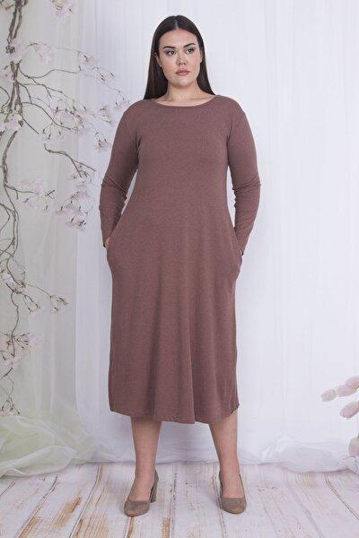 Kadın Sütlü Kahve Uzun Kollu Viskon Elbise 65N22067