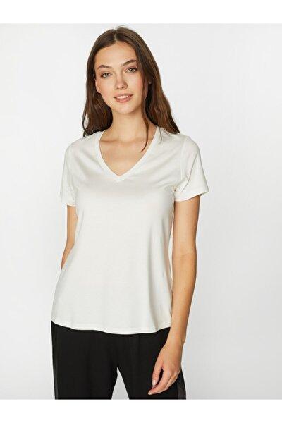 Kadın Ekru V Yaka Kısa Kol T-shirt