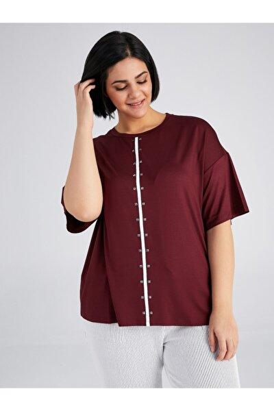 Kadın Bordo Taş Detaylı Kontrast Şeritli T-shirt 61639