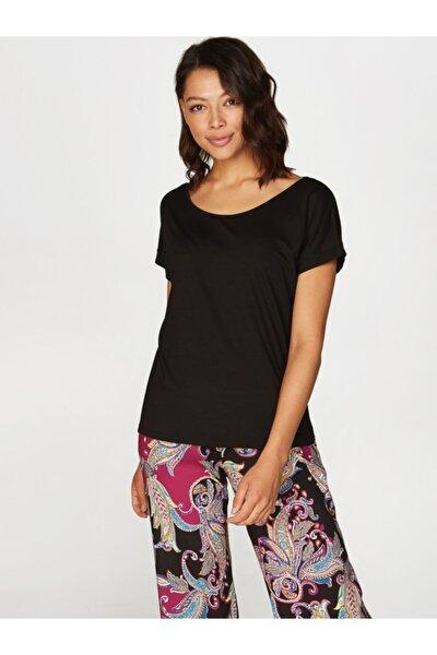Kadın Siyah Yuvarlak Yaka Düşük Kollu T-shirt 00003