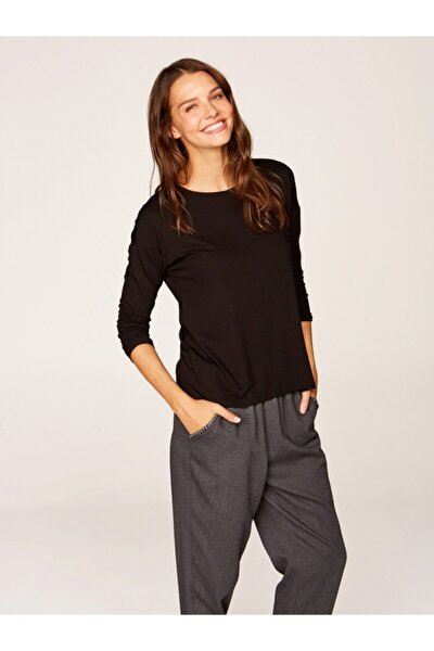 Kadın Siyah Yuvarlak Yaka Uzun Kol T-shirt 00019